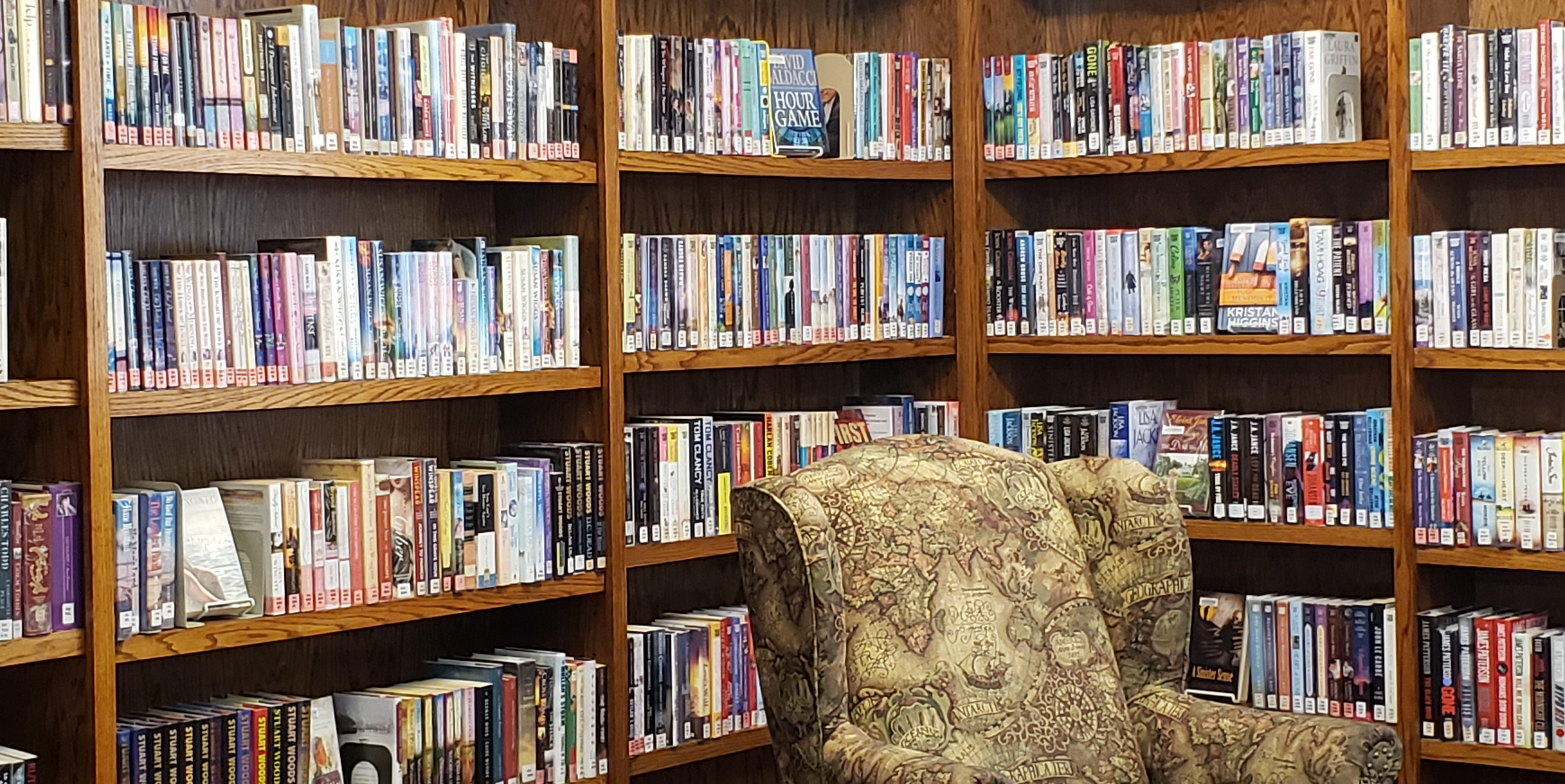We have an extensive selection of large print titles to offer our patrons.  I we do not have what you are looking for, we can often interlibrary loan it!