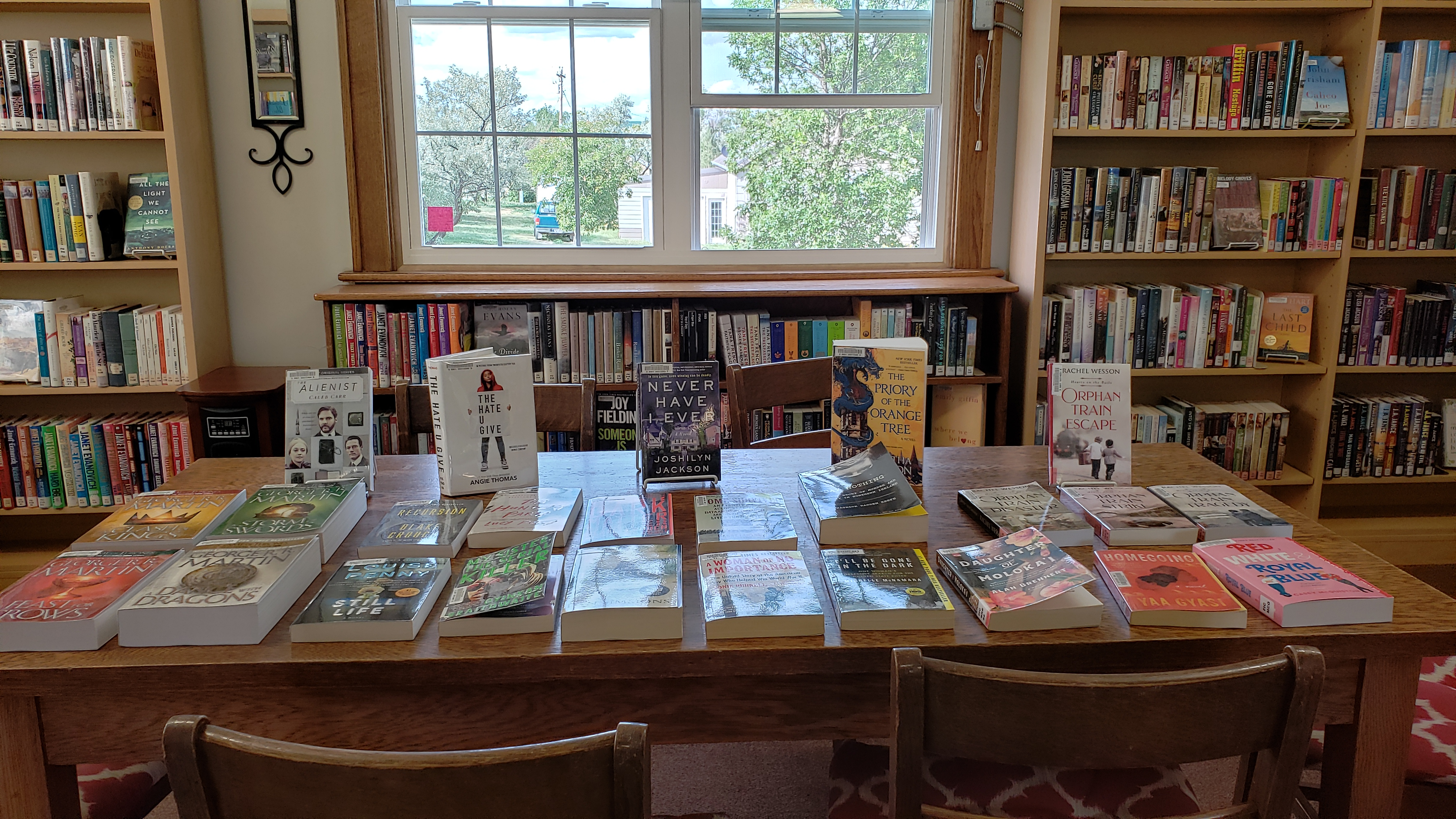 We often feature special displays.  Here is our summer display of new paperback books.